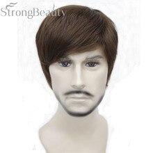 Strongbeauty 합성 스트레이트 헤어 보이 짧은 측면 부분 블랙/브라운 코스프레 남자/여자 가발