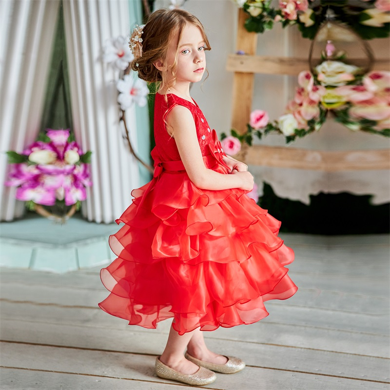 Baby Girl Frocks Dress For Girls Flower Wedding Party Dresses Toddler Kids Princess Dress Children Girl Clothing Graduation Gown 4