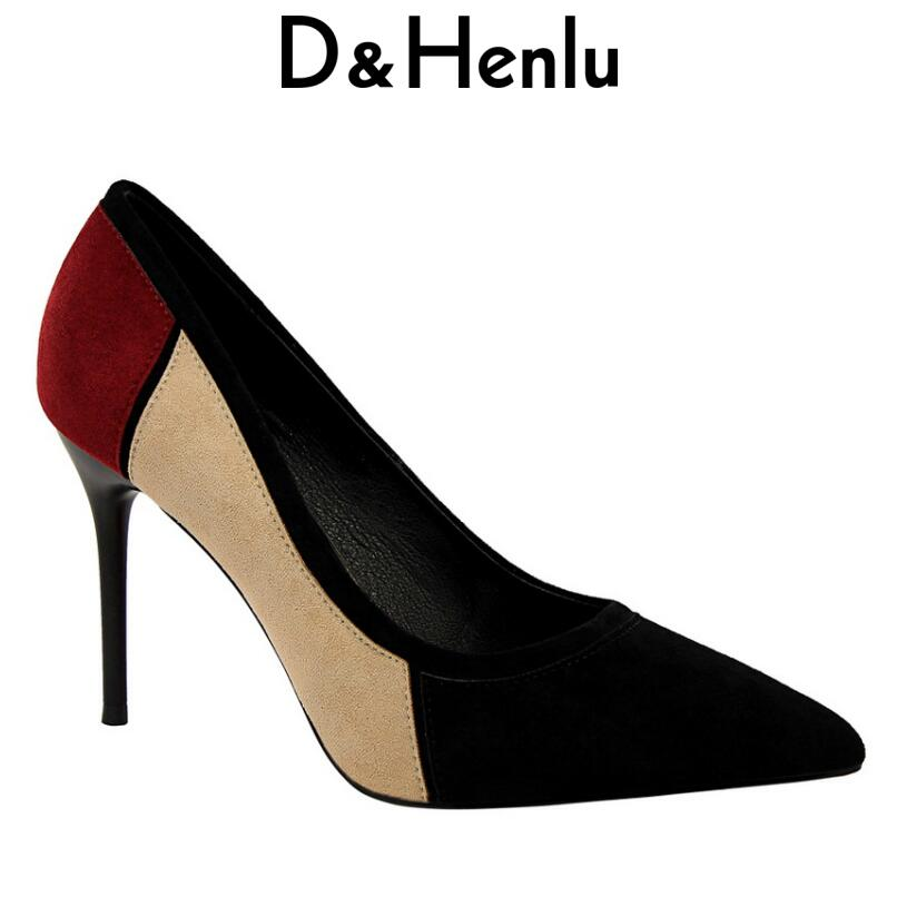 {D&Henlu} Office Shoes Womens Sexy Shoes High Heels Party Shoe Pumps Suede High Heels Pointed Toe Pachwork Heel escarpins femme