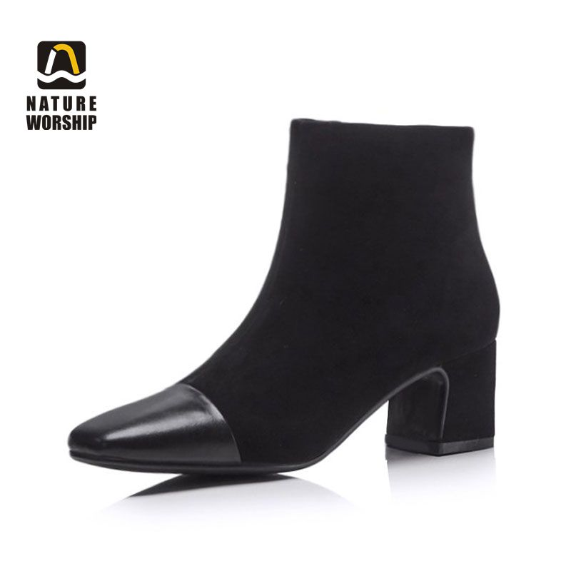 Nature Worship New Winter Spring Autumn Women Fashion Genuine Leather Flock Ankle Boots Sqaure High Heels