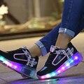 Tamanho 27-37 brilhando crianças roller shoes com rodas crianças led light up shoes sneakers para meninos das meninas sapatilha rosa preto