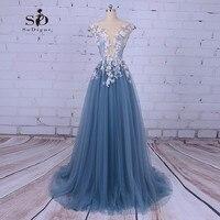 Платье для выпускного вечера принцесса цветы Платья для вечеринок с жемчугом новейшие ближайшие Тюль Вечерние платья Темно синие Пром плат
