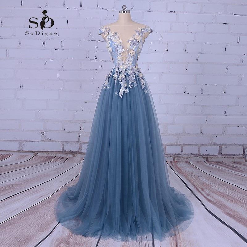 Robe de bal Princesse Robes de Partie De Fleurs Avec Perles Date Venir Tulle Partie Robes Marine Bleu De Bal Robe De Mariage Robes de Soirée