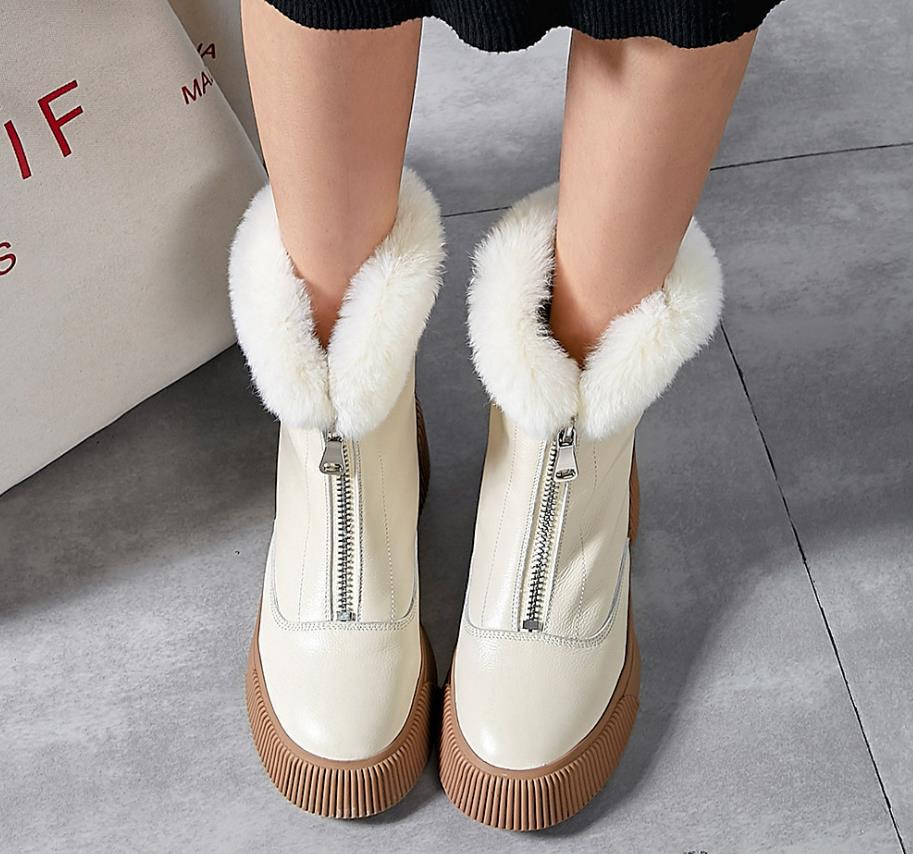 Autumn and winter new leather casual warm front zipper Martin bootsAutumn and winter new leather casual warm front zipper Martin boots