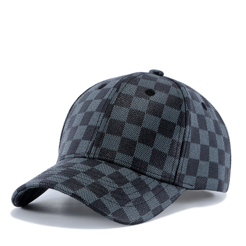 High Quality Faux Leather Baseball Cap Men Women Snapback Dad Hat Plaid Adult Cap Gift