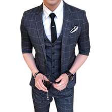 2018 New Mens Plaid Suits (jacket + pants vest) Business Wedding Banquet British style gentleman Half sleeve Suit 3 Piece Set