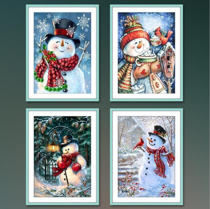 Diamond Painting Christmas Snowman Diamond Mosaic Christmas Diamond Embroidery Winter 5D DIY Full Square Cross Stitch