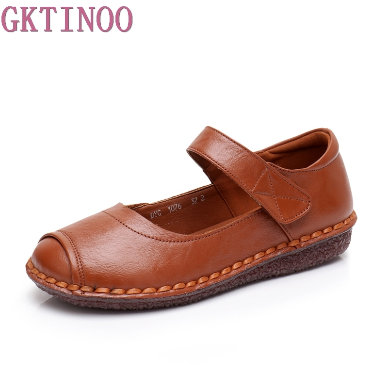 GKTINOO Spring Shoes Flats Ankle Strap Loafers Genuine Leather Ballet Shoes Fashion Casual Ladies Shoes Footwear Soft Women Shoe women s shoes hosteven pu leather loafers comfortable shoes women flats moccasins solid ladies casual shoe ballet footwear