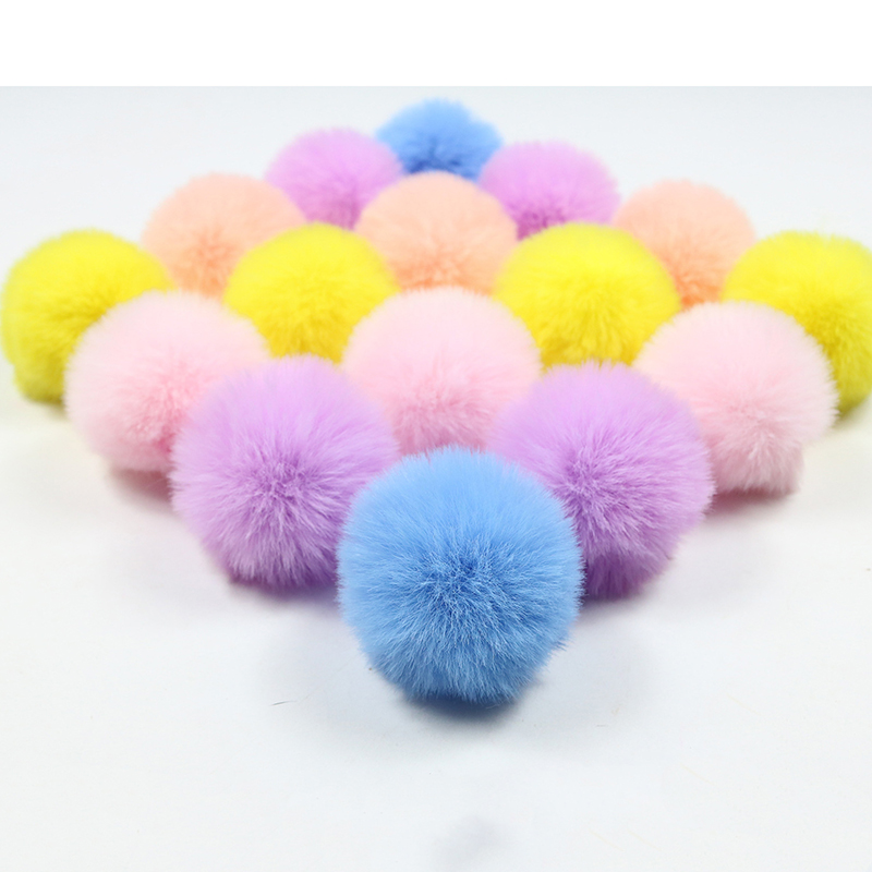 10 PCS DIY Custom Multicolor Faux Fur Pompom Hair Ball 5cm Small Pompon Rubber Band Hats Clothing Accessories Christmas Makeup