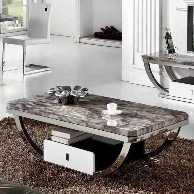 Steel And Stone Coffee Table: Kaart Li Wei Marmeren Salontafel Gelakt Roestvrij Staal