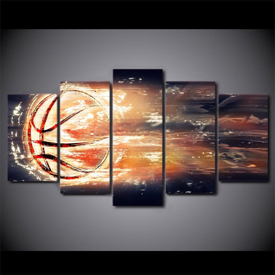 5 Панель абстрактный огонь Баскетбол холст HD печатный плакат Рамки живопись модульные Гостиная стены Книги по искусству изображение сканди...