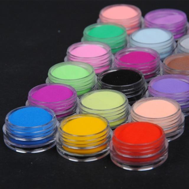 אקריליק אבקת 18 צבעים נייל טבילה אבקת גליטר לנייל אקריליק אמנות אבקת אבק אקריליק UV אבקת נייל אמנות ערכת קישוט