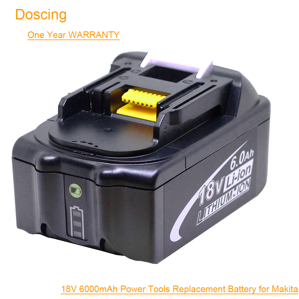 Doscing For Makita 18V 6000mAh Power Tools Rechargeable Batteries with LED Replacement Makita LXT BL1860 BL1850 BL1830 BL1860BDoscing For Makita 18V 6000mAh Power Tools Rechargeable Batteries with LED Replacement Makita LXT BL1860 BL1850 BL1830 BL1860B