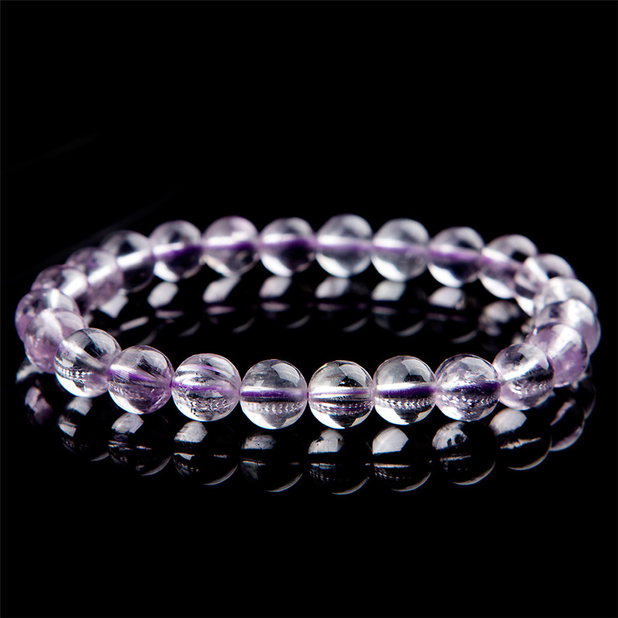 Drop Shipping 8mm Genuine Purple Clear Round Crystal Bead Bracelets Women Femme Charm Stretch Natural Kunzite Bracelet Gift 7mm transparent round crystal bead bracelet for women genuine natural kunzite gems stone charm stretch bracelet femme just one