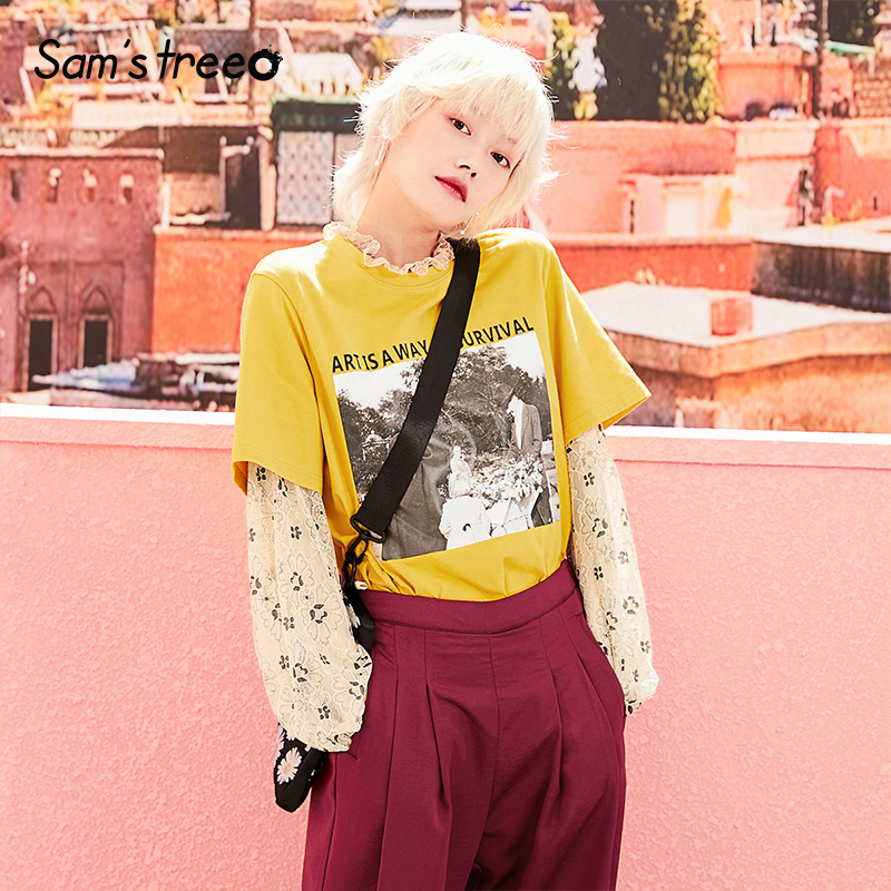 Samstree Summer Vintage Print Female T-shirts Design Letters O-Neck Short Sleeve Women Art Tees Cotton Plus Size T-shirts