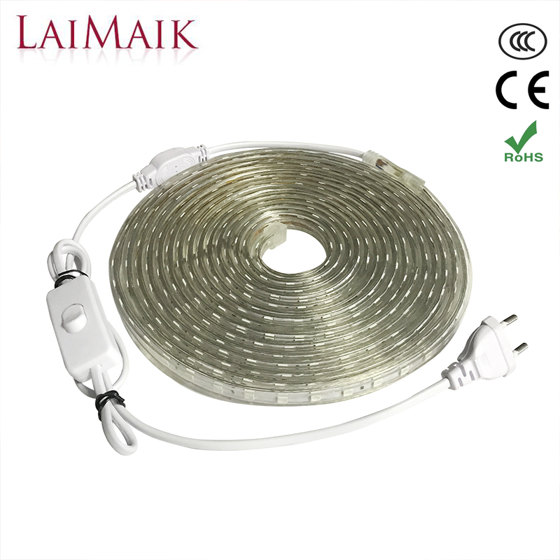 LAIMAIK AC220V LED Strip Light Waterproof with ON/OFF switch Flexible smd5050 outdoor LED tape ip67 for Kitchen led plug lights