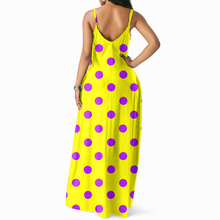 JRRY Bohemian Spaghetti Strap Dots Women Maxi Dresses Deep V Neck Long Sexy Ladies Dress Vestidos