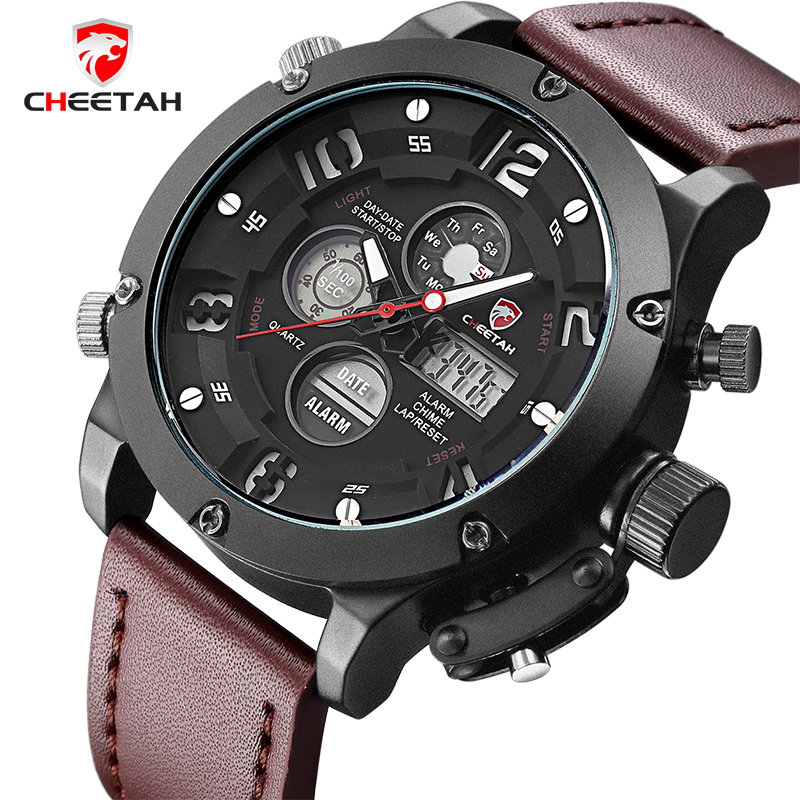 CHEETAH New Top Luxury Brand Men Sports Watches Men's Quartz Analog Led Clock Man Leather Army Military Wrist Watch weide new men quartz casual watch army military sports watch waterproof back light men watches alarm clock multiple time zone