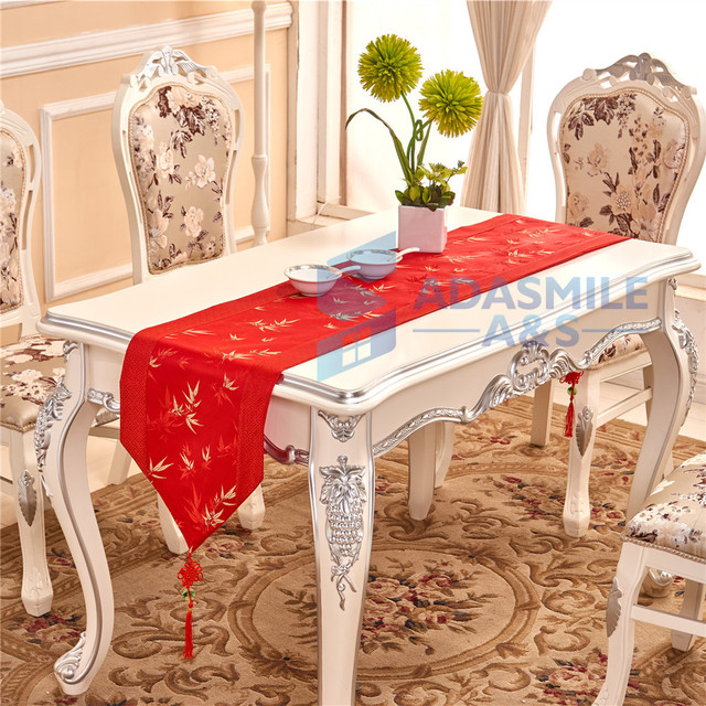 Chinese Bamboo Design Table Runner Embroidery Home Decoration Textile  Dinning Table Flag Cotton Table Cloth