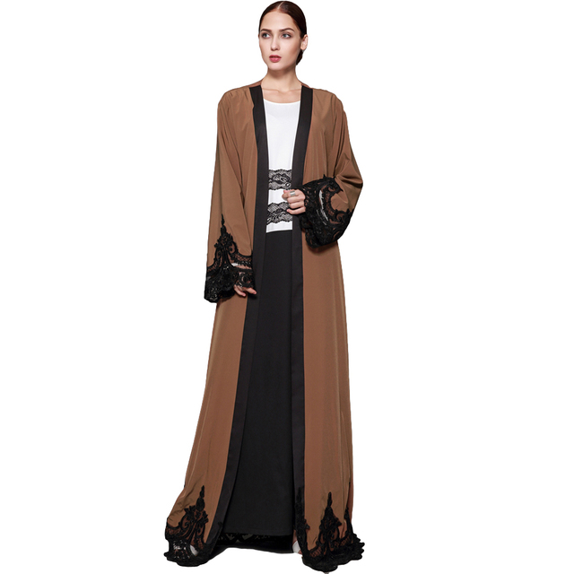 f3fa253046 2019 New Fashion Women Muslim Cardigan Spliced Crochet Lace Long Wide  Sleeve Islamic Abaya Maxi Dress