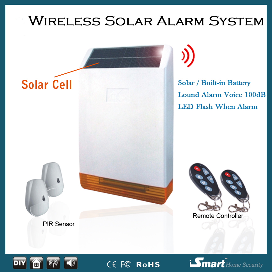 Wireless on-site Solar Siren Alarm Simple Live Solar Home Alarm Security System with 2pcs Pet Friendly PIR Sensor, Free Shipping dog fence wireless containment system pet wire free fencing kd661
