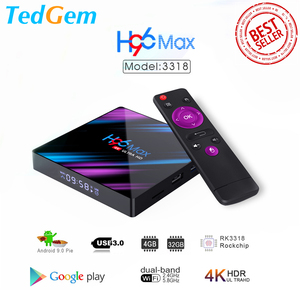 Image 1 - H96 MAX Smart TV Box Android 9.0 4GB Ram 32GB/64GB Rom Rockchip RK3318 4K USB3.0 H.265 Google Play IP TV décodeur PK tx3 mini