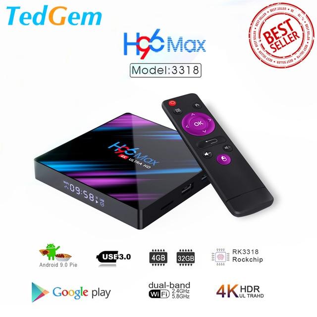 H96 MAX Smart TV Box Android 9.0 4GB Ram 32GB/64GB Rom Rockchip RK3318 4K USB3.0 H.265 Google Play IP TV décodeur PK tx3 mini