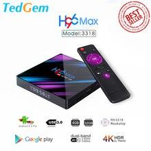 H96 max smart tv caixa android 9.0 4gb ram 32gb/64gb rom rockchip rk3318 4k usb3.0 h.265 google play ip tv definir caixa superior pk tx3 mini
