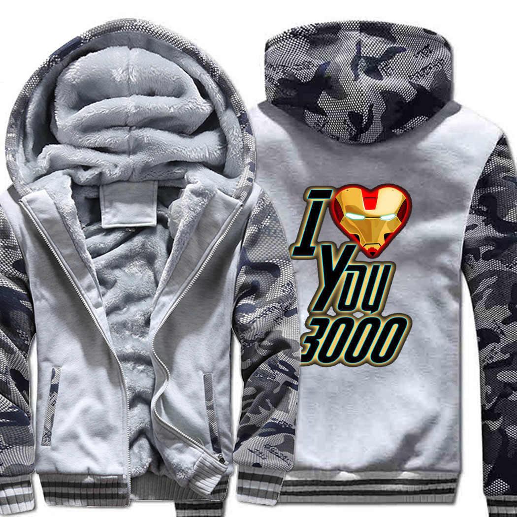 Я люблю вас 3000 раз тёплый флис для мужчин утолщаются толстовки куртки Мстители 4 печати Модный камуфляжный чехол на молнии пальто homme