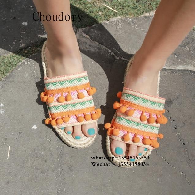 Top Designer balle Pom Pom dame pantoufles Floral embelli femmes appartements gladiateur sandales chaussures fille tongs chaussures livraison gratuite - 4