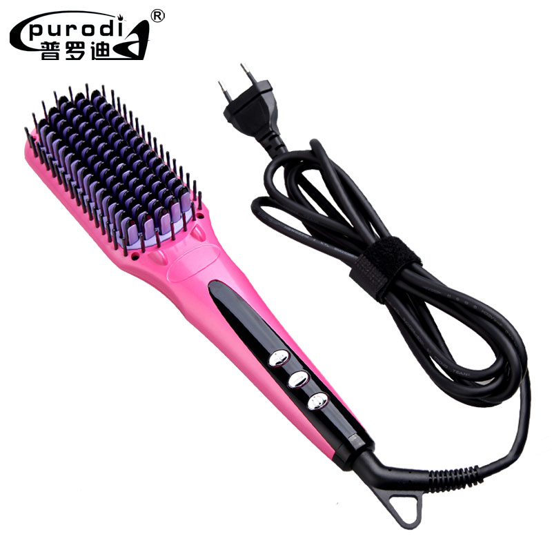 Purodi 2017 Digital Electric Hair Straightener Brush Comb Detangling Straightening Irons Hair Brush EU/ US/ UK Plug LCD Display good quality professional remington hair straightener s8590 keratin therapy digital straightener with smart sensor eu us plug
