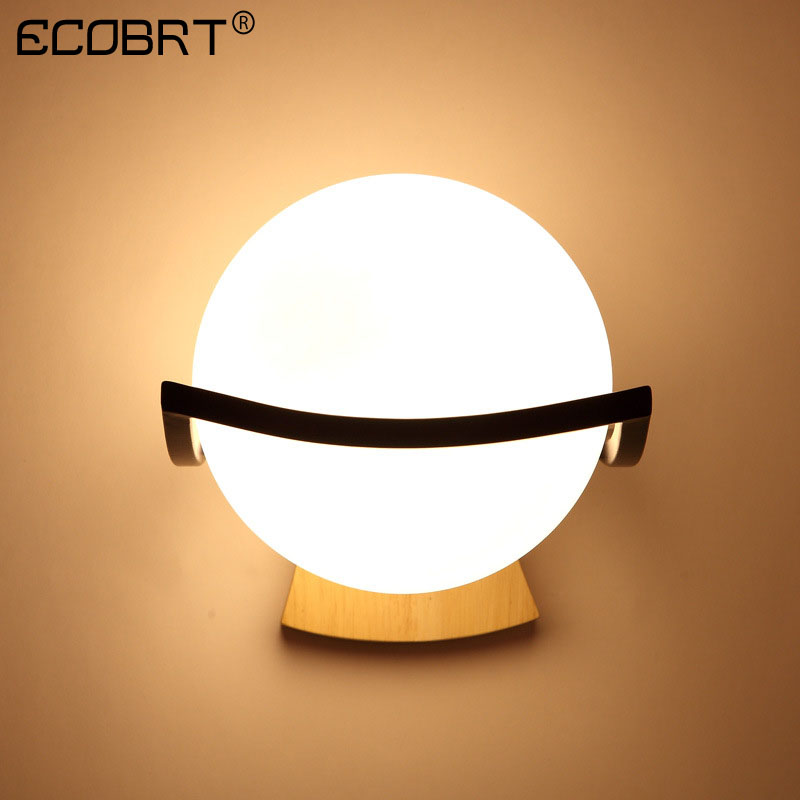 ECOBRT Modern LED bedroom bedside indoor wall lamp aisle balcony wall lights glass Lampshade wood wall lamps