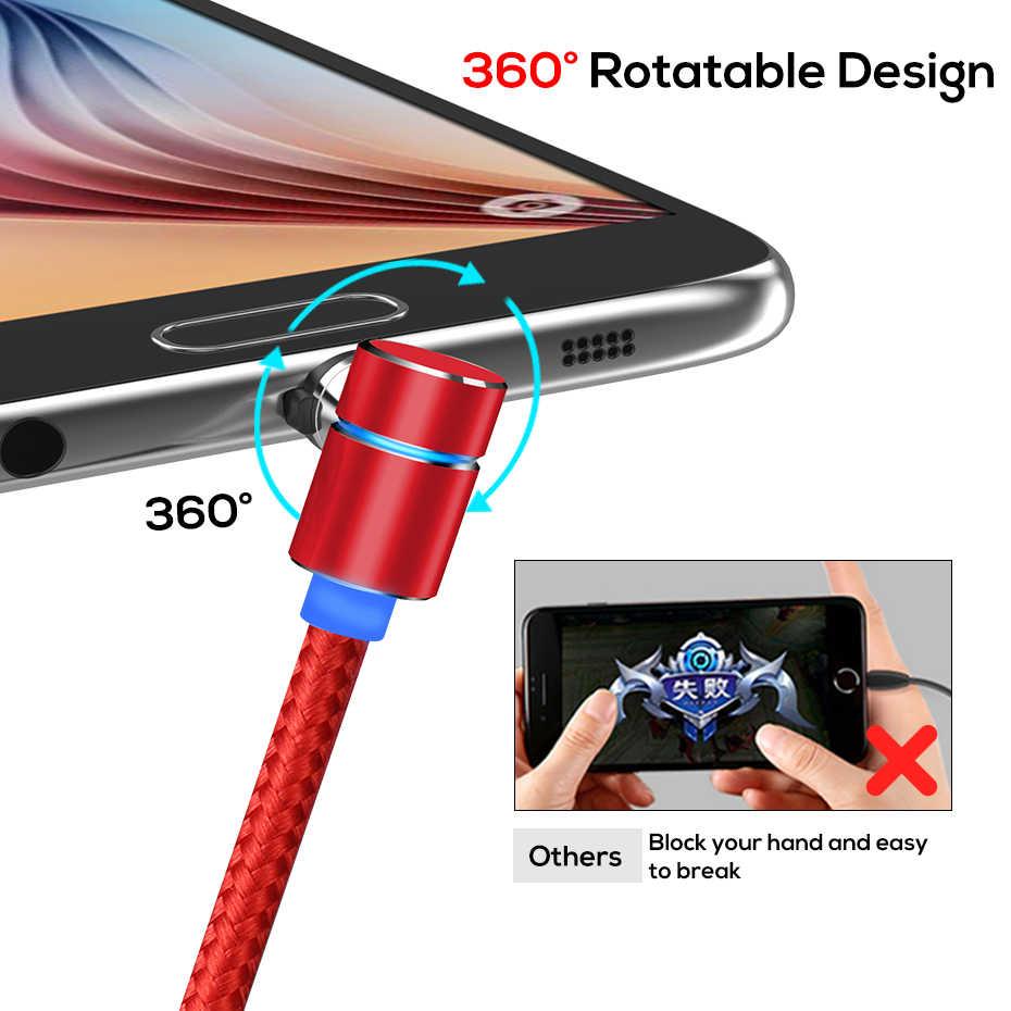 TOPK 2M 90 Gradi Cavo Magnetica, nylon LED Cavo Micro USB e USB Tipo-C USB C Cavo per il iPhone Samsung Huawei Xiaomi htc Sony