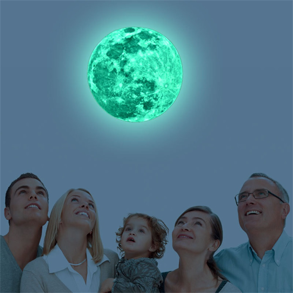 2018 Горячая Распродажа Новый 20 см 3D большой луна люминесцентные стены Стикеры съемный светятся в темноте Стикеры C0120