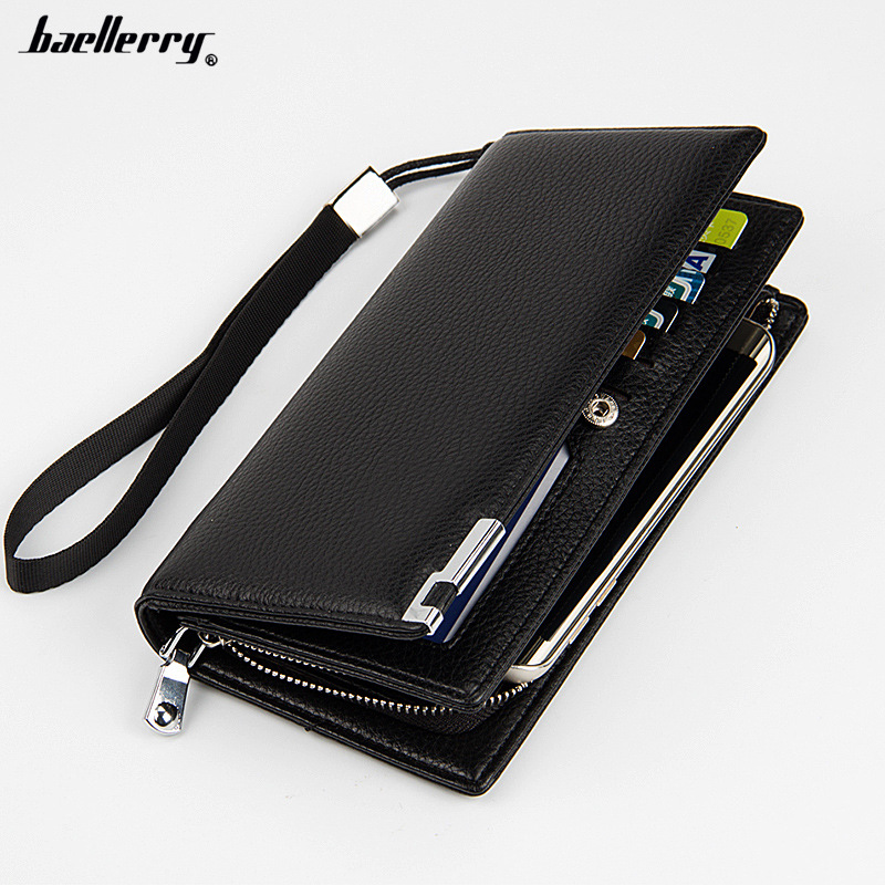 Baellerry Fashion Leather Clutches Men's PU Wallet Brand Men Long Wallets Zipper Coin Purse Wallets Card Holder for male gift  new fashion men wallet pu leather purse handbags for male luxury brand black no zipper men clutches free shipping card holder