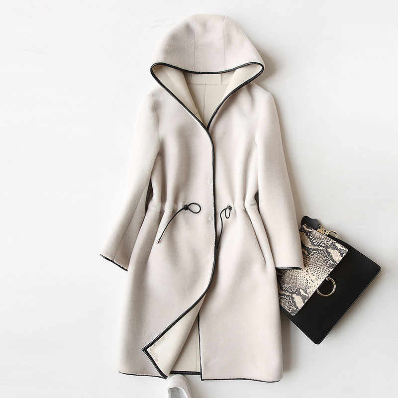AYUNSUE 2018 New Wool Real Fur Coat For Women Winter Sheep Jackets And Coats Long Hooded PU Leather Lining Overcoat 17952 WYQ757