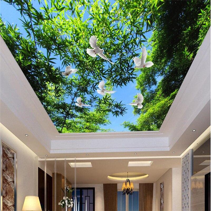 Light Blue Wallpaper Bedroom Bedroom Ceiling Design 2016 Bedroom Ceiling Light Design Beautiful Bedroom Art: Custom Ceiling Wallpaper Blue Sky And Green Trees Pigeons