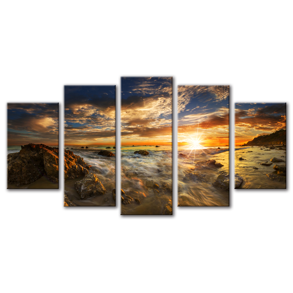 Unframed Canvas Painting Sunlight The Sea Reef Spray Photo Picture Prints Wall Picture For Living Room Wall Art Decoration