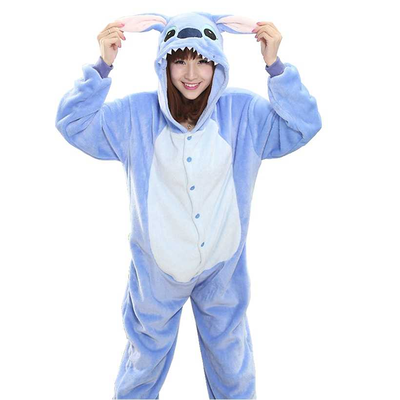 Blue Pink Stitch Pajama Set Women Men Unisex Adult Animal Pijama Flannel Onesie  Sleepwear Hoodie Halloween 397f72244
