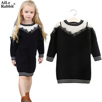 AiLe Rabbit 2017 Girls Sweater Dress Lace False Harness Black White Stitching Classic Fashion Long Sleeves