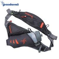 Green Hermit Running Water Bags Hydration Gym Jogging Sport Belt for Men Women Waist Pack With Bottles PR1009
