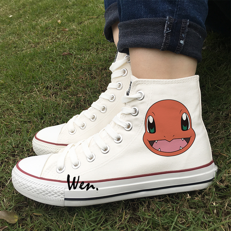f2392271b11137 Wen Design Anime Pokemon Charmander Sports Athletic Shoes Unisex Canvas  Sneakers High Top Flats White Black