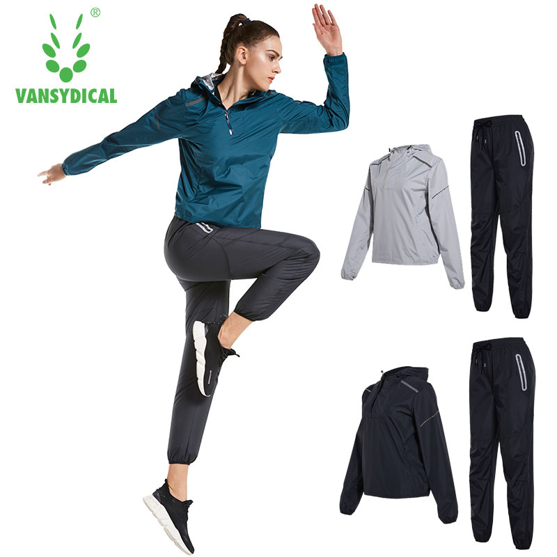 все цены на Vansydical Women Yoga Tracksuit Lose Weight Sets Running Jacket Pants Set Sports Suits Workout Hooded Gym Suits Sweatsuits Women