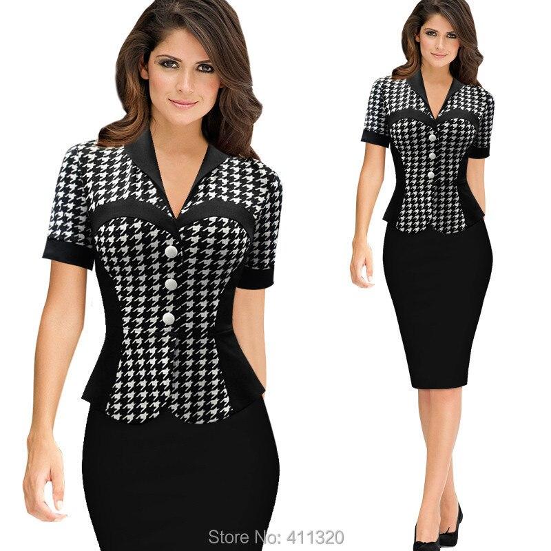 Womens Elegant Business Suits Blazer with Skirt Formal Office Uniform Designs Women Lapel Colorblock Knee Length Pencil Dress (3)