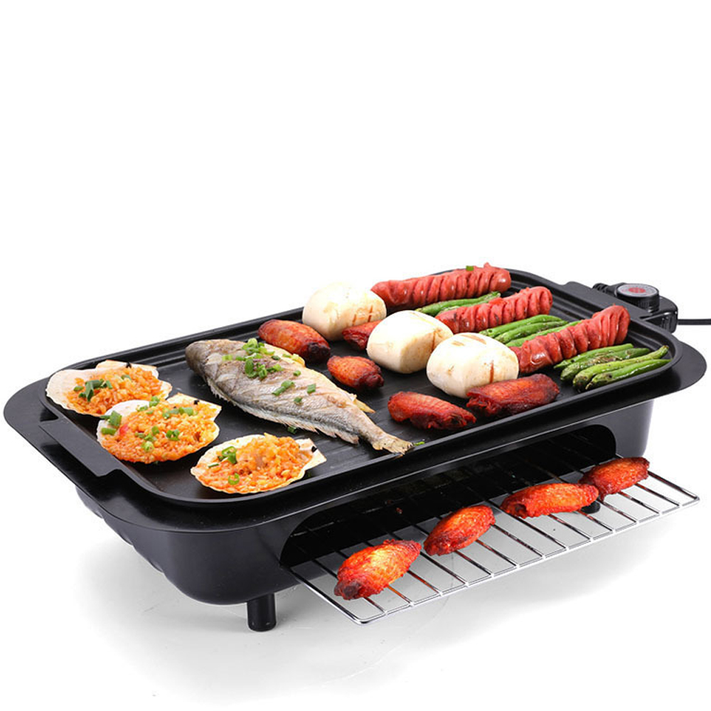 Electric Nonstick Adjustable BBQ Grill Barbecue Oven Roasting Pan Barbecue Griddle Cookware Kitchen Cooking Tools Z30