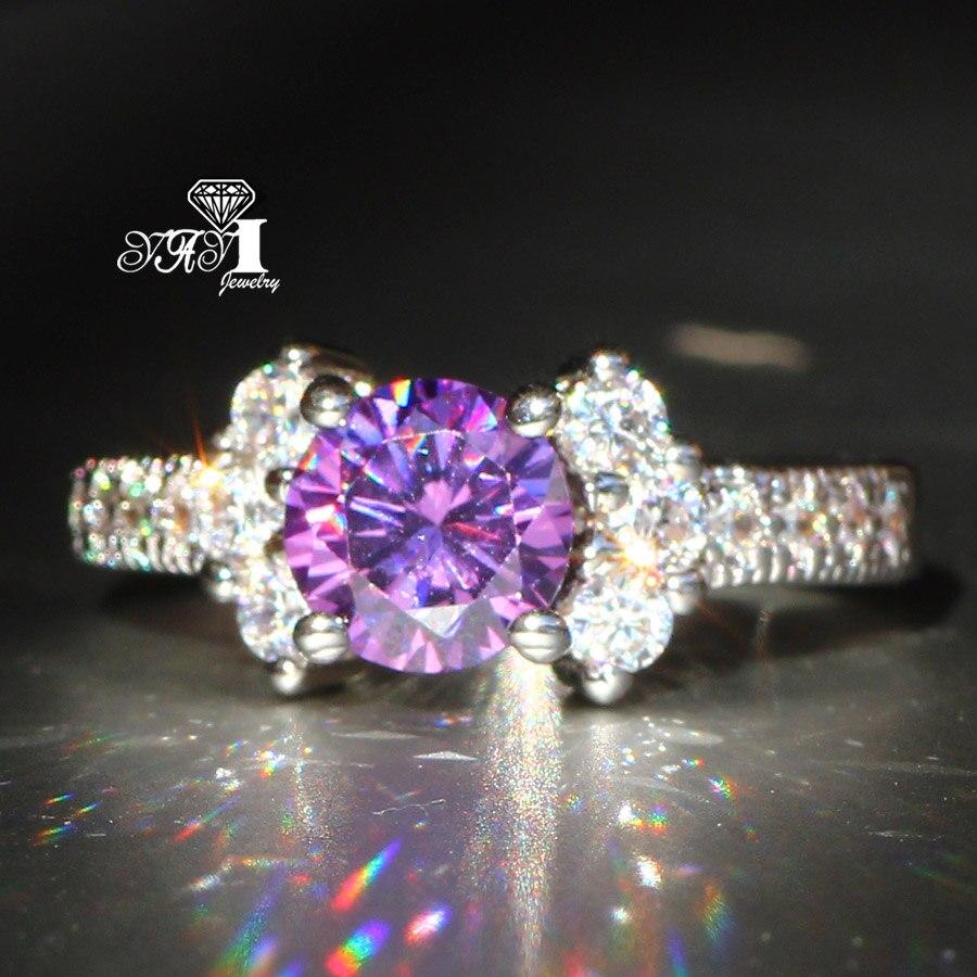 Aroma In Temperamentvoll Yayi Schmuck Mode Prinzessin Cut 3,6 Ct Lila Zirkon Silber Farbe Verlobungsringe Hochzeit Partei Schellt Duftendes