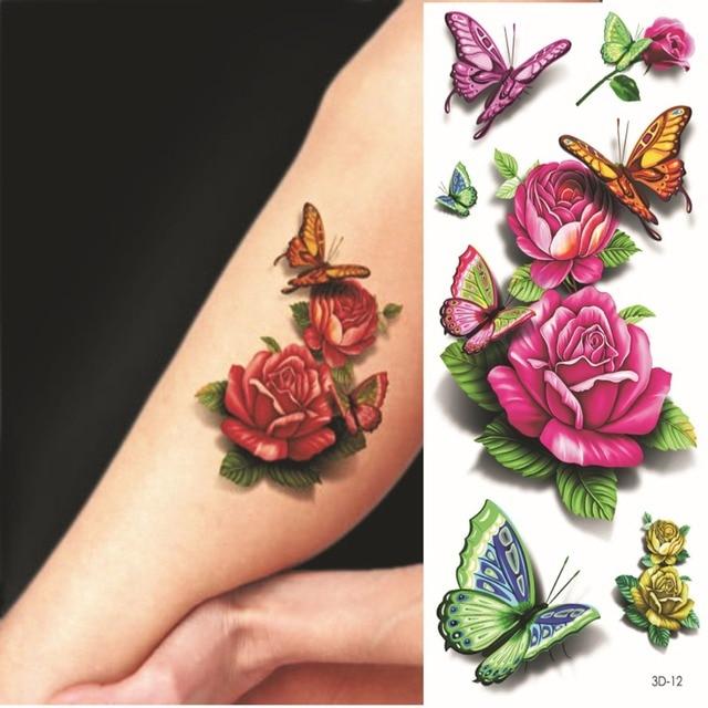 3D Butterfly Rose Tattoo Flower Fake Temporary fantasy Waterproof ...