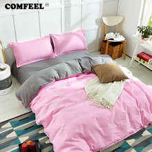 hot deal buy comfeel pink comforter bedding set cotton quilt cover pillowcase*2 soft bedsheet ab side 3/4pcs bedding home textile duvet cover