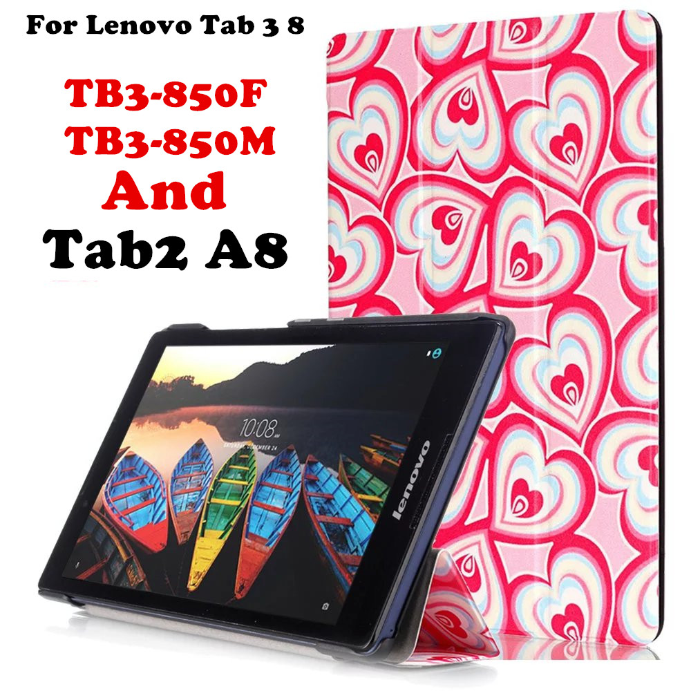 For Lenovo Tab 3 8 8.0 inch TB3-850F / TB3-850M Flip Cover Leather Case For Lenovo Tab2 A8 50 A8-50F Tablet Case Smart Cover ultra slim case for lenovo tab 2 a8 50 case flip pu leather stand tablet smart cover for lenovo tab 2 a8 50f 8 0inch stylus pen