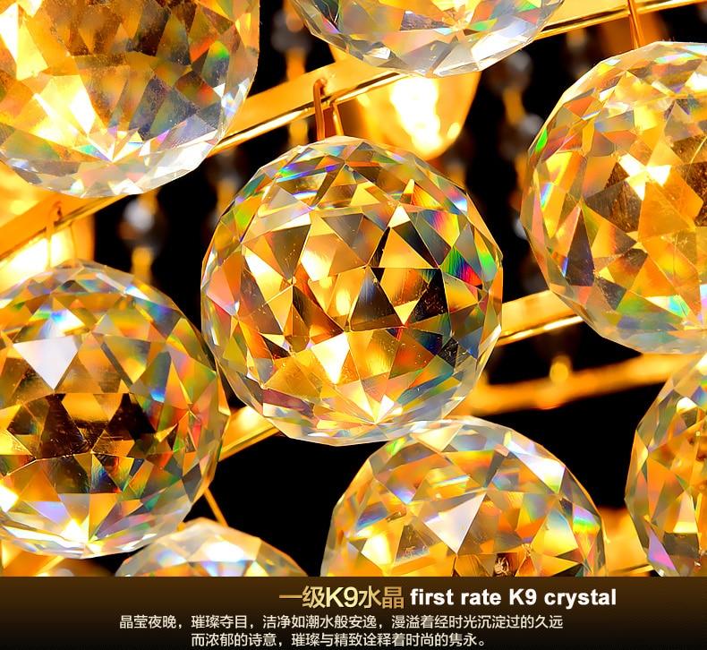 LED Moderno Lustres de Cristal de Ouro Luminária Redonda de Luxo - Iluminação interior - Foto 5
